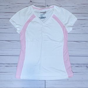 Danskin Now Pink & White Active Tee Size Small